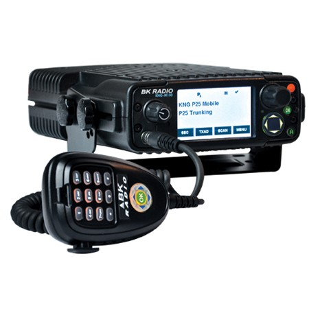 BK Radio KNG-M Series Digital Mobile Radios - Dash Mount, 5000 Channels, 50 Watt, P25, View with mic and mounting bracket
